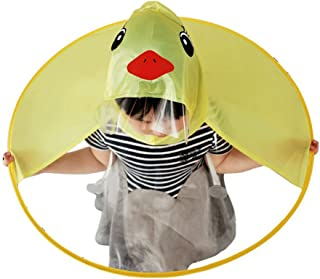 Cute Raincoat, Rain Coat UFO Children Umbrella Hat Foldable Magical Raincoat, Hands Free (Yellow,Duck)