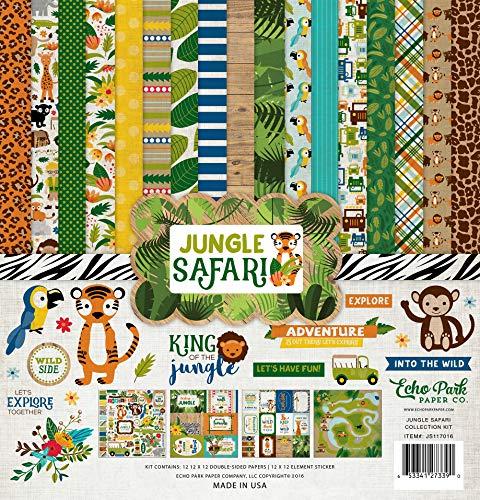 Echo Park Paper Jungle Safari Collection Kit colección, No aplicable, Multicolor, 31.75 x 30.48 x 0.35 cm