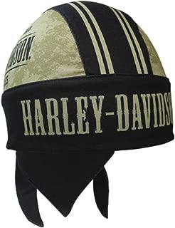 Harley-Davidson Men's Grunge Skull H-D Head Wrap, Black & Khaki HW22212