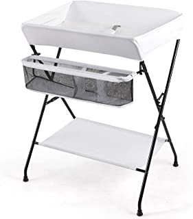 INFANS Baby Diaper Table, Portable Infant Changing Station with Safety Belt, Large Storage Basket & Shelf, Easy to Clean Waterproof Surface, Non Slip Foot Covers, Foldable Nursery Organizer (White)