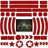 42 Piezas Pegatinas Reflectantes Bicicleta,Adhesivos Reflectantes,Pegatinas Reflectantes Kit,Reflectores Adhesivos,para Cascos, Bicicletas, Cochecitos,Moto,Sillas de Ruedas y Más (Rojo)
