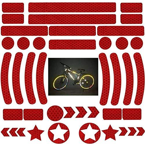 OUOQI Adesivi Riflettenti,Adesivi Catarifrangenti,Adesivi Riflettenti,Adesivo Nastro Catarifrangente,42 Pezzi Adesivi Riflettenti Bicicletta,Adesivi Luminosi,per caschi Bici, Auto, Moto (Rosso)