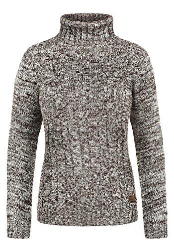 DESIRES Philipa Damen Rollkragenpullover Pullover Zopfstrick Mit Rollkragen Aus 100% Baumwolle, Größe:XL, Farbe:Coffee Bean (5973)