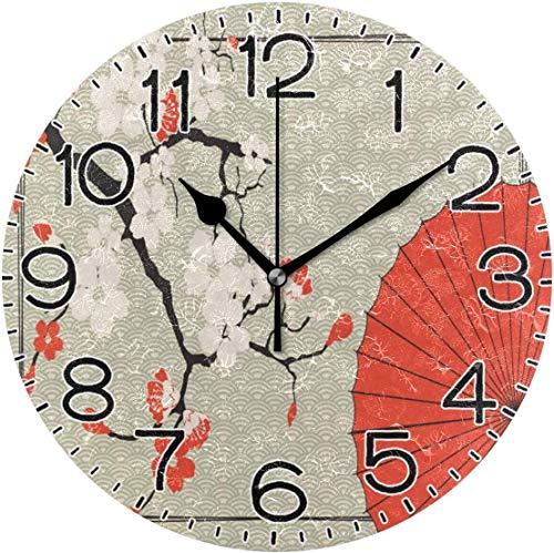 BeeTheOnly Reloj de Pared Diámetro 10 Pulgadas Paraguas japonés y Cereza Decoración Retro de Granja rústica silenciosa
