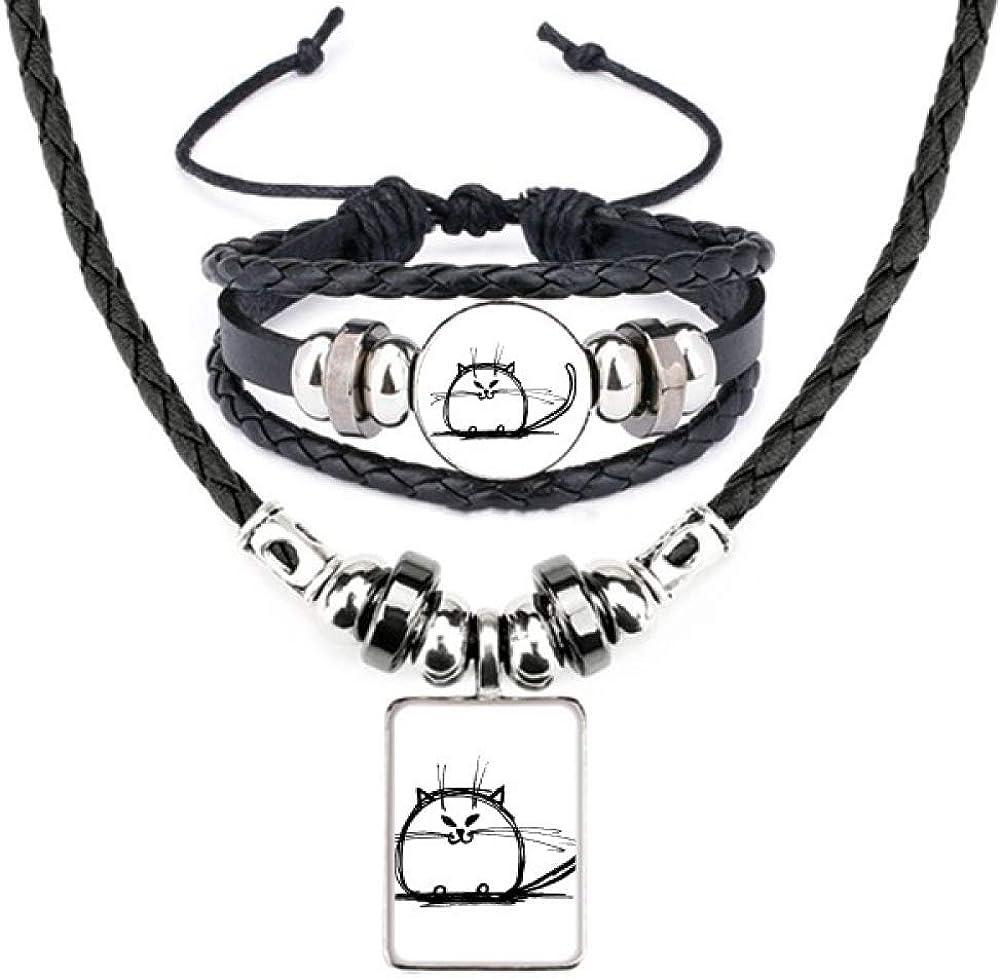 Curly Heavy Cat Smile Sit Line Leather Necklace Bracelet Jewelry Set