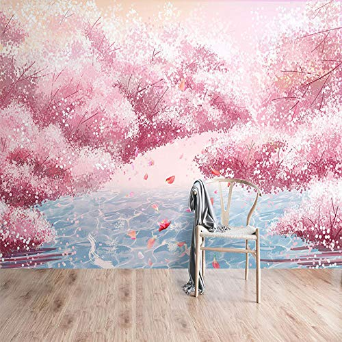 Roze kersenbloesem behang Japanse romantische roze kersenbloesem behang Nordic theme hotel restaurant net rode achtergrond nagelwinkel fotobehang 3D-effect behang behang woud vintage 150 x 105 cm.