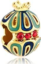 Q&Locket Snow White King Crown Filigree Faberge Egg Beads For Charms Bracelets