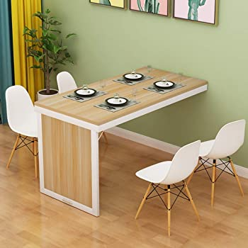 Amazon Com Chang Xu Dong Us Folding Dining Table Wall Mounted Fold Out Convertible Table Mdf Multi Function Home Office Desk Wall Desk Save Space Computer Table Color Natural Kitchen Dining