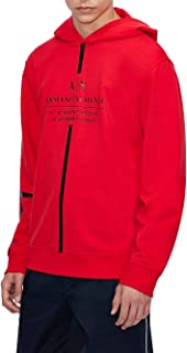 A X Armani Exchange Men's Logo Tape Pullover Hoodie, Absolute Red, X-Small