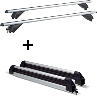VDP Skiträger Silver Ice ausziehbar + Alu Dachträger RB003 kompatibel mit Hyundai Tucson (5Türer) ab 2015