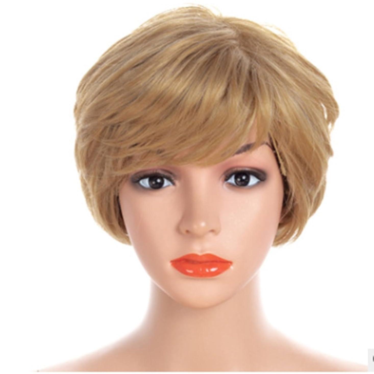 ミンチるサンプルKoloeplf 30cmショートストレートウィッグフラットまたは斜めバンズとヘアスタイルウィッグ - ナチュラルゴールドと白ウィッグ (Color : Gold-white)