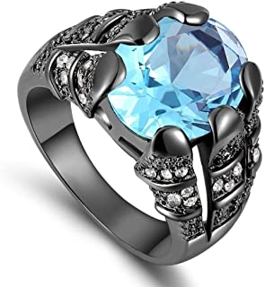 خاتم رجالي مطلي روديوم أسود بحجر كريم الزبرجد مقاسUS 9