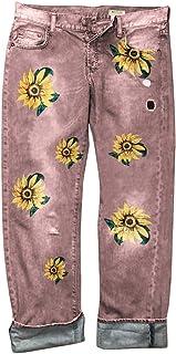 ORANDESIGNE Jeans de Mujer Pantalones Vaqueros de Cintura Alta Retro Pantalones Vaqueros de Mujer con Estampado de Girasol...