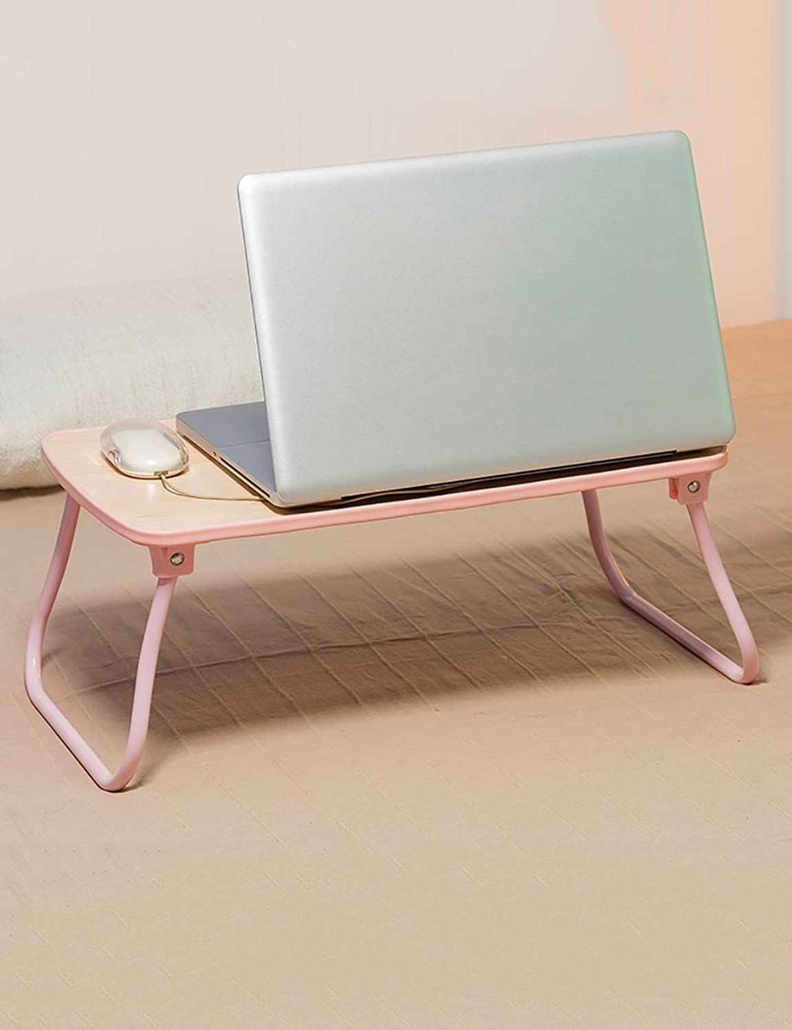 HAIPENG Laptop Table Folding Table Lazy Desk Simple Study Table (4 colors Available) (color   Pink, Size   LWH 52.6  30.5  22.8cm)