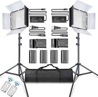 SAMTIAN LED Video Luz 600 LED Cámara/Kit de luz de Estudio: CRI95 3200K / 5600K luzPuertas de Granero Soporte de 75'' Battería Li-Ion Recargable y Cargador para Fotografía Estudio Youtube Video