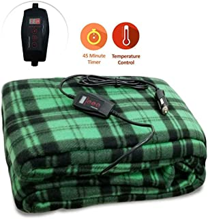 Zone Tech Car Travel Blanket – Green Plaid Premium Quality 12V Automotive Comfortable Seat Blanket Great for Winter