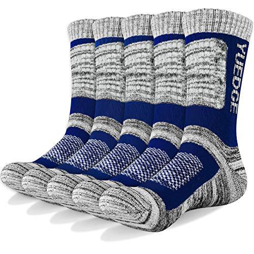 YUEDGE Wandersocken, 3/5 Paar atmungsaktive Laufsocken für Herren, Sport Socken mit Sohle und Knöchel, Anti-Blister Trainersocken Blue L