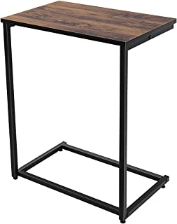 Homemaxs Sofa Side End Table C Table Wood Finish Steel Construction 10-Inch for Small Space