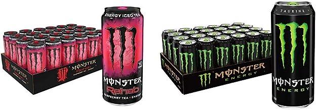 Monster Rehab Energy Drink, Raspberry Tea, 15.5 Ounce (Pack of 24) & Monster Energy Drink, Green, Original, 16 Ounce (Pack...