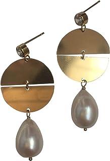 Pendientes de perlas con forma de gota de agua dulce