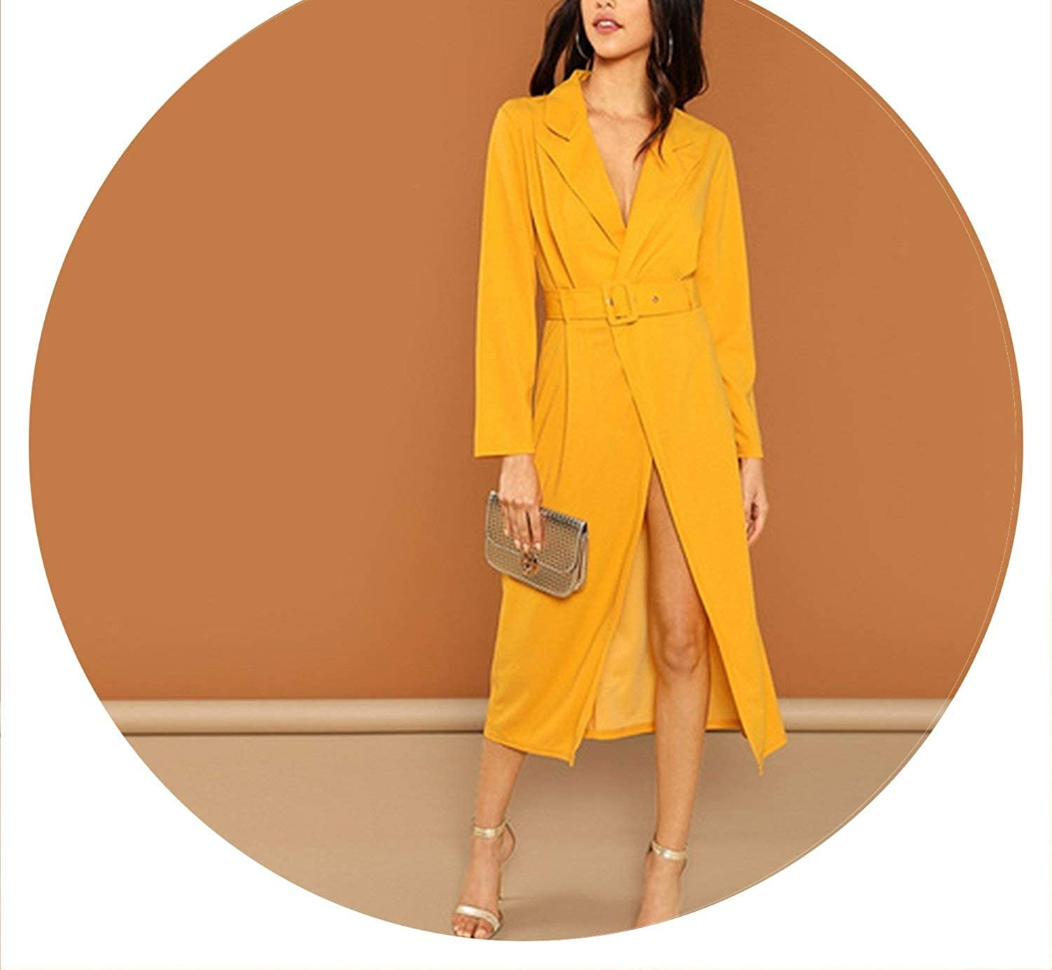 Brave pinkmary Streetwear Weekend Casual Ginger Waist Belted Wrap Notched Neck Asymmetrical Maxi Dress Elegant Women Dresses