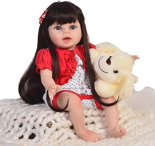 DMZH 55cm Reborn Babypuppen Lange Haare Prinzessin Stoff Karosserie Süss Baby Weiß puppe Kinder Spielzeug Geburtstag Weißachten Geschenke