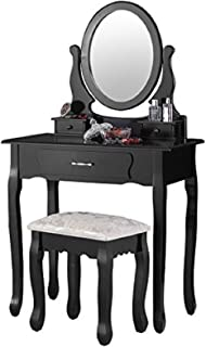 Mecor Makeup Vanity Table with Oval Mirror,Wood Dressing Table with 3 Drawers Bedroom Vanity Set w/Stool for Girls Women Black