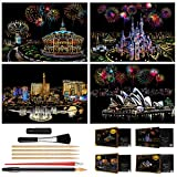 Scratch Art Rainbow Painting Paper(16'' x 11.2''), Sketch Night View DIY Scratchboard for Kids & Adults,...