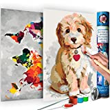 murando Pintura por Números Mapamundi & Perro 100x100 cm 2 Motivos Cuadros de Colorear por Números Kit para Pintar DIY Bricolaje Adultos Ni?os Caja-Regalo de Diseno n-A-0334-ab-r