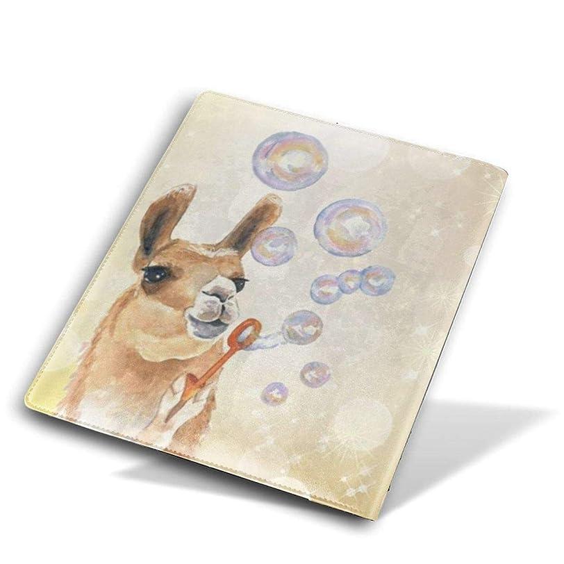 蒸留するカレンダー全体高品質 レザー ブックカバー 本革 かわいいプリント付き 耐水性 教科書 ノート 漫画用 Size 28*51 Cm ラマ吹く泡 アルパカ Llama Blowing Bubbles