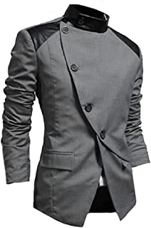 SportsX Men Asymmetric Hem Oblique Placket Stand Up Collar Blazer Coats