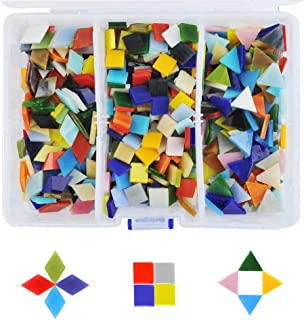TIMESETL 500-600pcs/400g Mosaic Tiles Mosaic Stained Glass Pieces with Organizing Container for Home Decoration DIY Arts & Craft, Square,Triangle, Rhombus