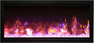 Amantii Symmetry Extra Tall Built-in Electric Fireplace with Black Steel Surround and ICE Media (SYM-42-XT-Fi-109-Diamond), 42-Inches