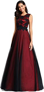 dc39e6948599f Ever-Pretty Robe de Soirée Longue Femme Appliques Fleurs en Tulle A Line  EZ07545