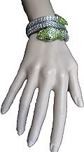 TFJ Women Wrist Wrap Around Bracelet Silver Metal Fashion Jewelry Bling Green Beads Cobra Snake