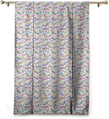 GugeABC Blackout Curtain Whale Balloon Shades Window Treatment Valance Colorful Dotted Pattern with Sketch Style Mammal Silho