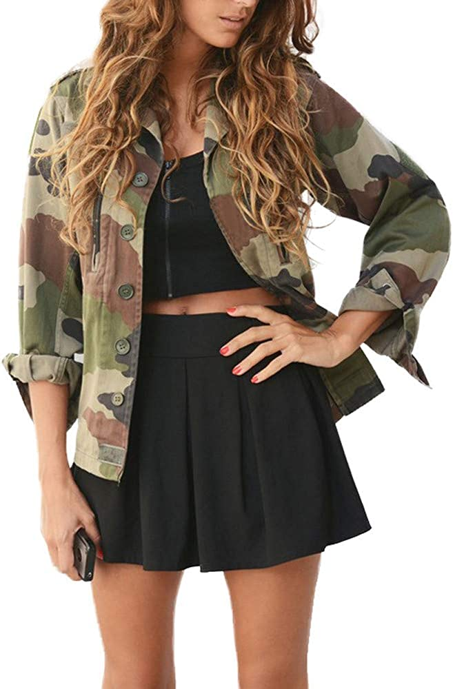 Women Casual Camouflage Cardigans Jacket Autumn Winter Spring Buttons Coat