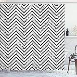 ABAKUHAUS Modern Duschvorhang, Zig Zag Triangle Print, Digital auf Stoff Bedruckt inkl.12 Haken Farbfest Wasser Bakterie Resistent, 175 x 200 cm, Schwarz-weiß