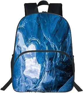 Oobon Kids Toddler School Waterproof 3D Cartoon Backpack, Glacier Frozen Chilled Den in Iceland Natural Odd Forms Nordic Scandinavian Image, Fits 14 Inch Laptop