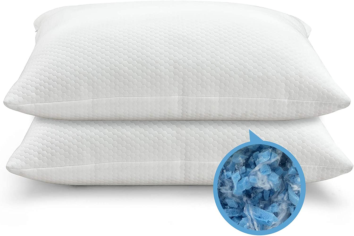 Pillows for Sleeping - 2 Pack OYT Cooling Shredded Memory Foam Bed Pillows Standard Size Set of 2, Adjustable Loft Bed Pillows with Washable Hypoallergenic Cover for Back and Side Sleeper