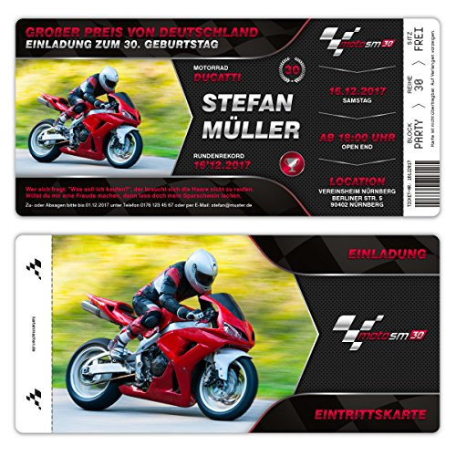 Einladungskarten Geburtstag (20 Stück) - Motorrad Rennen Ticket - Eigenes Bild Eintrittskarten