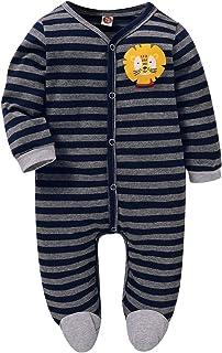 Amissz Baby Unisex Strampler aus Baumwolle für Mädchen und Jungen, Pyjamas Cartoon Schlafstrampler