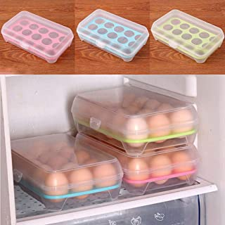 Partm Partm Kitchen Refrigerator Eggs Storage Box for 15 pcs Eggs Food Storage Container Case Egg Holder Storage Boxes & Organizers