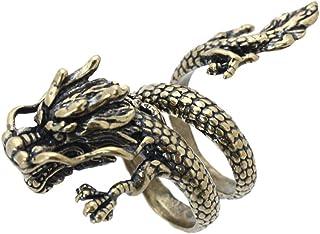 SODIAL(R) Monili Bronze della Lega a Spirale Aperta del Drago Cinese per Gli Uomini
