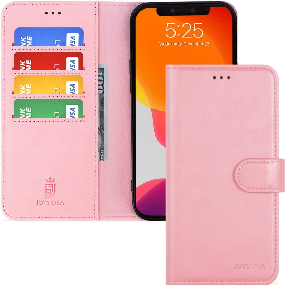 JOYSIDEA iPhone 12 Pro Max Leather Wallet Case, Premium PU Leather Flip Folio Case with 4 Card Holder, Kickstand and Shockproof TPU Cover for iPhone 12 Pro Max 6.7 inch, Pink