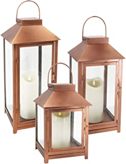 GiveU DFL-112 Big Set of 3 Indoor and Outdoor Metal Copper Lanterns-with Moving Flame Led Candle-with Batteries, L,M.S, Bronze (Renewed)