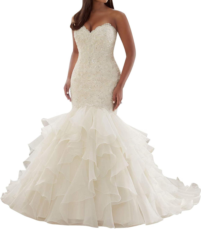 JAEDEN Wedding Dresses Lace Mermaid Bride Dress StraplessWedding Gown Trumpet