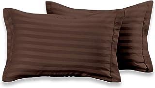 "j Shree Satin Stripe 300 TC Cotton Pillow Cover Set of 2 Piece (18"" X 27"" Inch) (Brown)"