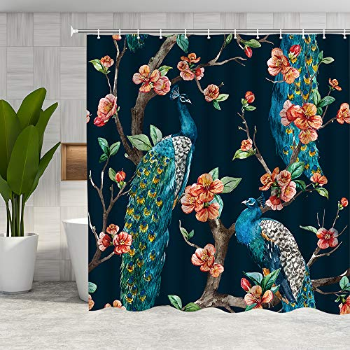 DMTTY Peacock Shower Curtain Spring Pink Flower Blue Peacock Bathroom Curtain Fabric Bathroom Accessories Polyester with Hooks