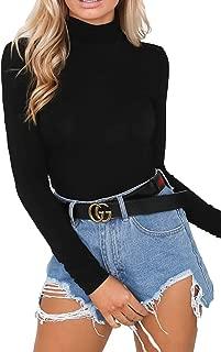 Womens Turtleneck Long Sleeve Plain Snap Crotch Bodysuit Stretchy Rompers